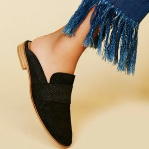 EUC Free People Suede Loafer Mules - Black